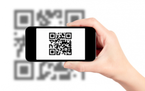 Smart Phone reading Fond Memories memorial QR code